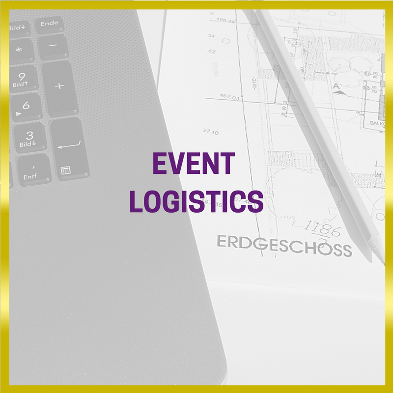 black and white image  of a laptop with an event management / event logistics plan laid next to it with a gold border