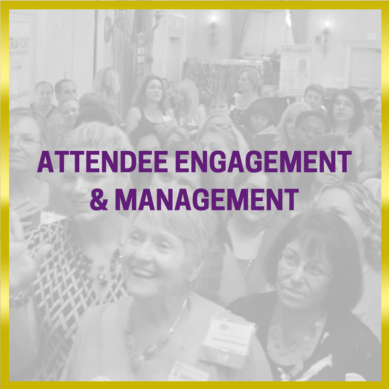 black and white image with event attendees in a crowd with a gold border and purple writing saying attendee Engagement and management