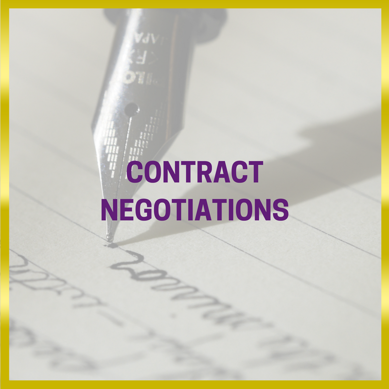 Black and white image of a pen writing; gold frame; purple writing: EVENT MANAGEMENT - CONTRACT NEGOTIATIONS