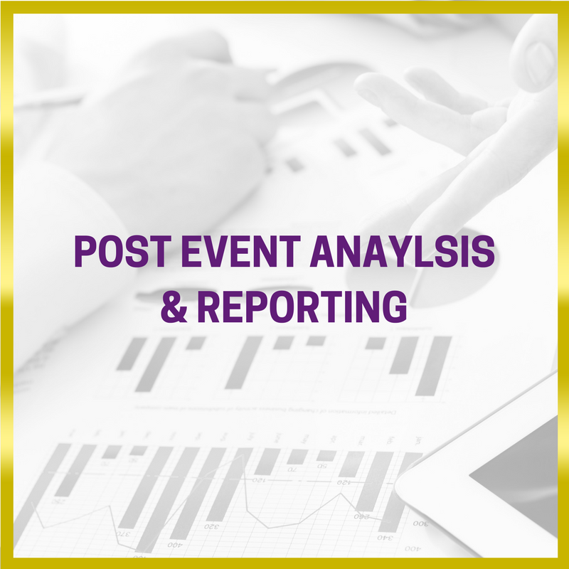 Black and white image of a laptop event management reporting  next to it. Gold border and  purple writing