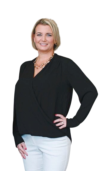April Iannazzone Online Marketing Consulting Expert with a black shirt and hand on her hip