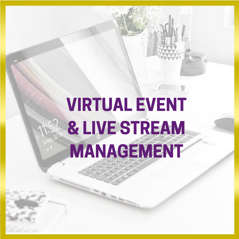 Black and white image of a laptop on a desk with a gold frame with purple writing saying: event management - Virtual & Live stream event